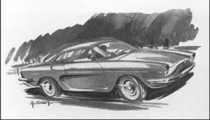 Figure 2. Preliminary sketch of the Dauphine GT (Project 1092). Courtesy Album Dauphine by Dominique Pagneux, E/P/A Editions, 1994.